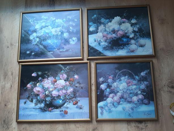 obrazy 4 szt rama kwiaty