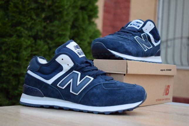3340 New Balance 574 синие замшевые кроссовки зимние с мехом сапоги