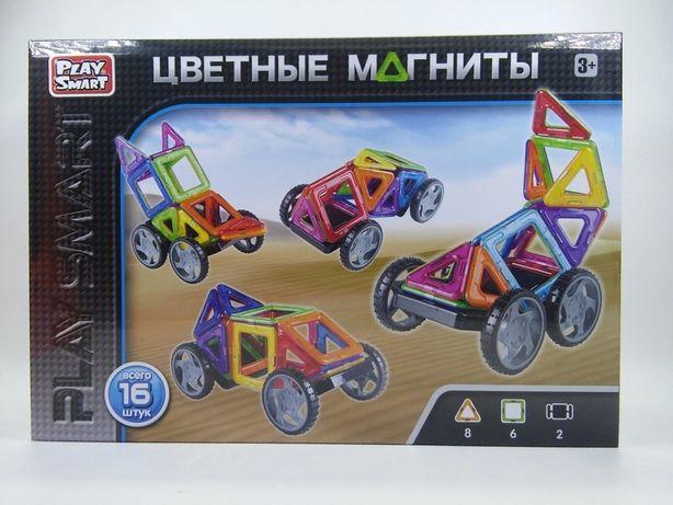 Магнитный конструктор Play Smart Цветные магниты 16 деталей