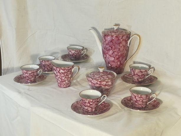 Serwis kawowy, Włocławek, sygnowany, marmurek, różowy, PRL, staroć