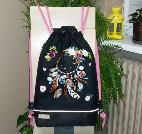 "Worko-plecak "" Łapacz snów "" wodoodporny, handmade, dwustronny."