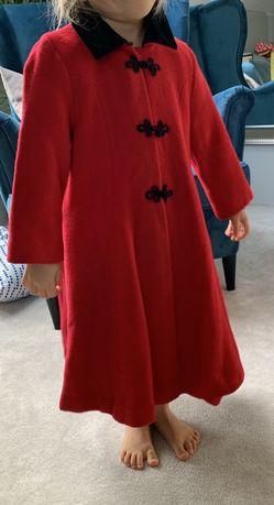 Długi płaszcz czerwony wełna wełniany święta 98 3 strój