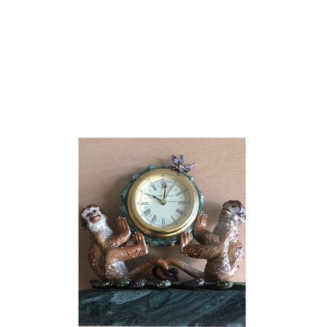 Статуэтка часы jay strongwater Антикварные  Золото, камни, эмаль, мрам