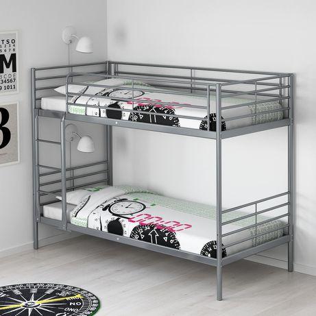 SVARTA - Rama łóżko piętrowego,srebrny, 90×200