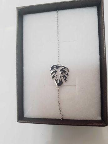 Bransoletka srebrna liść