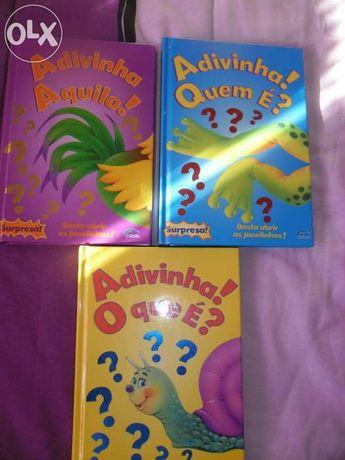 3 Livros adivinha o que e? portes inc