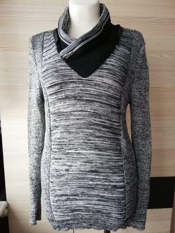 Tunika dzianinowa, sweter, prążek. Szary melanż. Rozm S/M/L