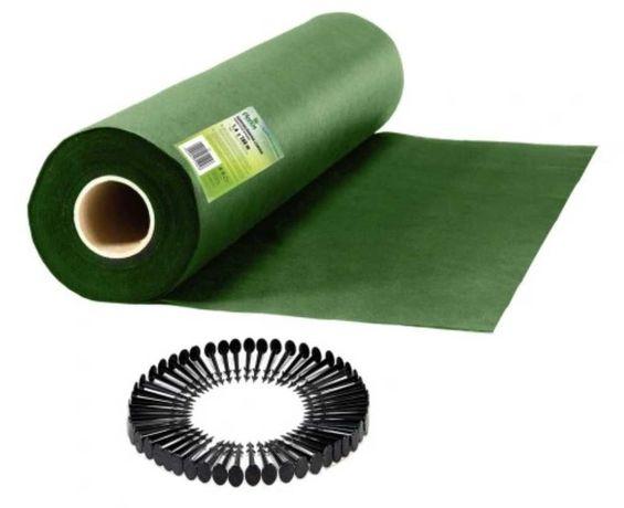 Agrowłóknina ogrodowa zielona 1,6 m x 100 m + 100 szpilek