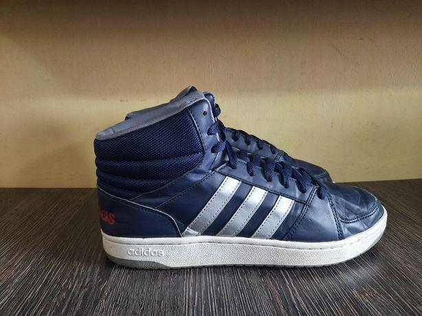 Оригинал кожаные теплые высокие кроссовки Adidas Hoops