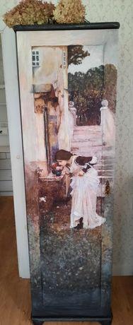Szafa ręcznie malowana, szafa stylowa, drewniany słupek