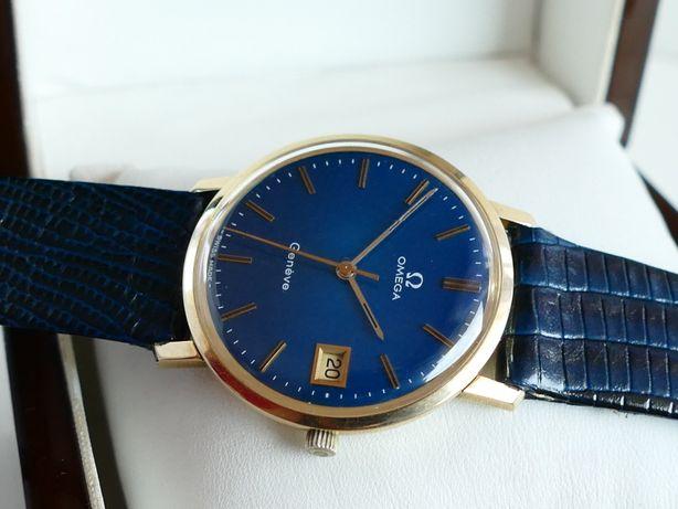 Piękna złota Omega Geneve Blue z 1975 roku złoto 14k/585