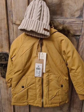 Newbie  GRATIS czapka 44/46 beżowa nowakurtka 86 zimowa zółta
