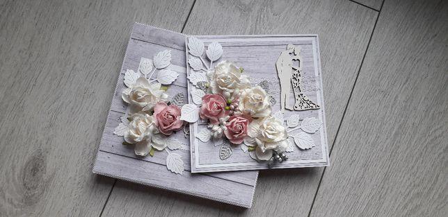 Kartka na Ślubna ręcznie robiona w pudełku kwiaty