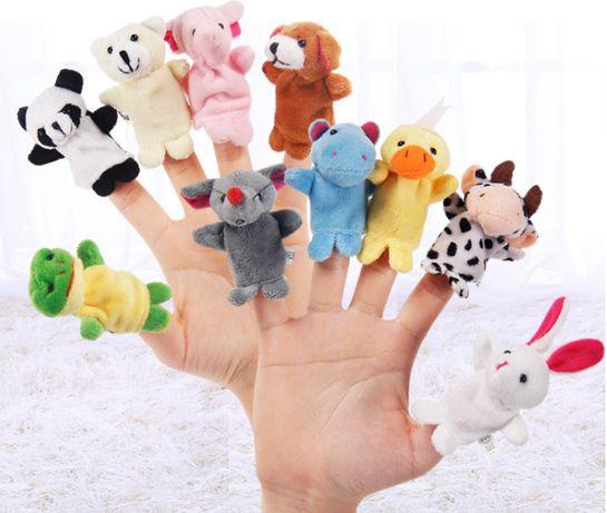 Набор зверюшек на пальцы 10 шт., игрушка 7см , кукольный театр пальчик