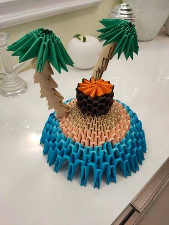Ręcznie robione origami modułowe - Tropikalna wyspa