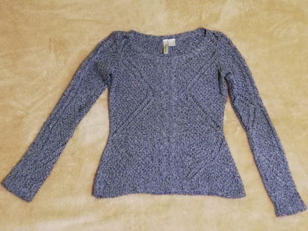 RAINBOW sweter ażurowy wzór niebiesko-grafitowy melanż rozm. M