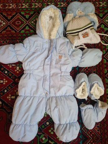 Zimowy kombinezon + 2 czapki