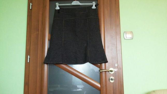 Damska twedowa oryginalna spódniczka z przeszyciami