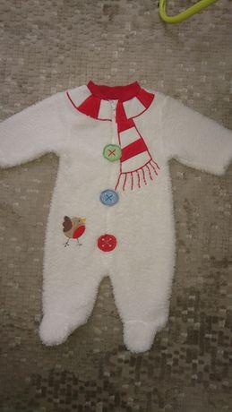 Мягкий теплый человечек новогодний для новорожденного снеговик белый