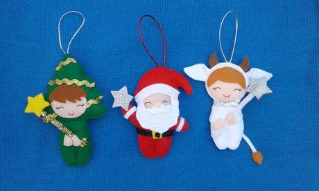 Новогодний сувенир, декор, игрушки на елку из фетра.