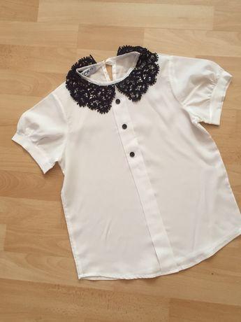 Біла гарнесенька турецька блузка в школу на 7-9 років на ріст 122-134
