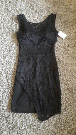 Czarna asymetryczna sukienka koronka roz 36