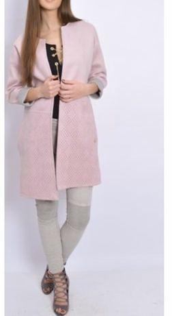 Płaszczyk palto różowy prosty krój długi wiosna jesień nowy damski