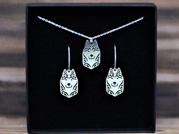 Siberian Husky - komplet srebrny pr. 925