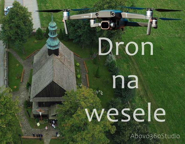 Dron na wesele, filmowanie dronem wesel, ślubów, komunii, imprez