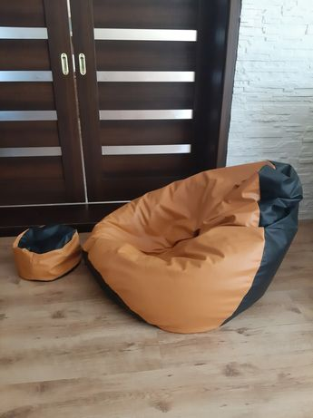 Bardzo duża pufa SAKO fotel  Xxl i podnóżek stan idealny