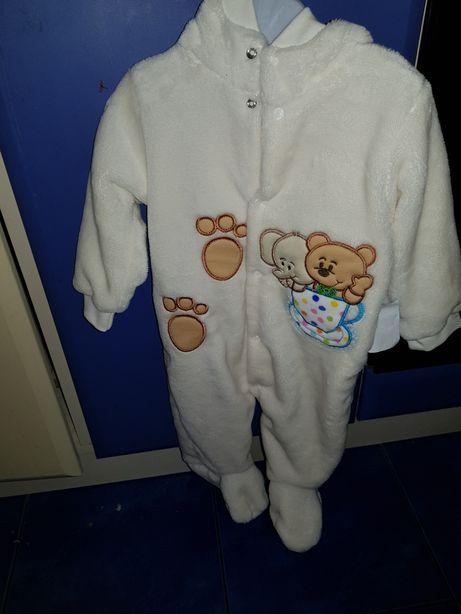 Плюшевый человечек 3-6 мес, 68-74, комбинезон пижама теплый человечек