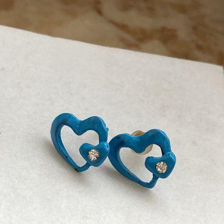 Kolczyki niebieskie serduszka z diamencikiem kryształ streetwear vinta