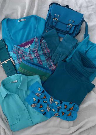 Turkusowy zestaw ubrań + dodatki, turkusowa bluzka, sweter, torebka.