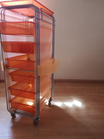 Wózek pomocnik fryzjerski pomarańczowy