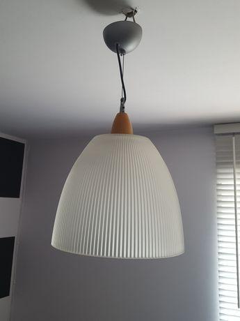Lampa sufitowa, wisząca klosz polprzezroczysty srebrna oprawka