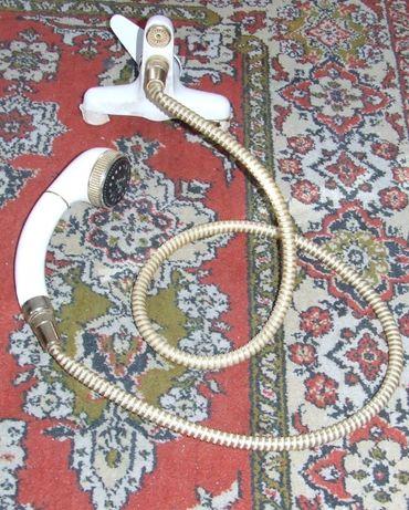 Bateria łazienkowa, wannowa, ścienna 2 otworowa z wężem i słuchawką