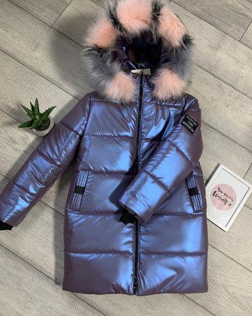 Зимняя куртка на девочку теплая 134-152.Парка пальто модное стильное