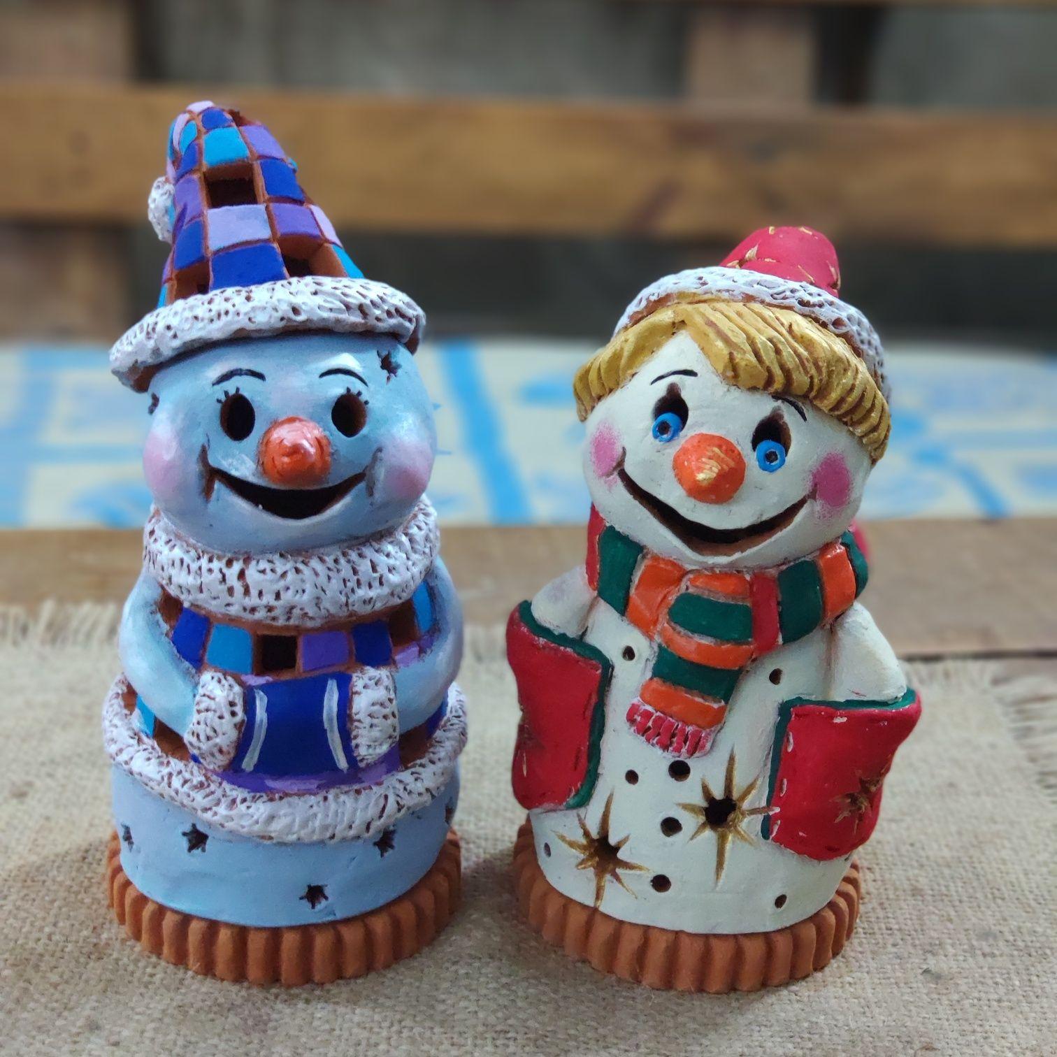 Світильник-сніговик керамічний