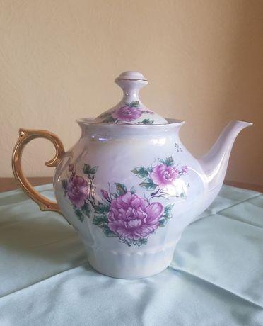 Большой керамический чайник винтаж ретро фарфоровый
