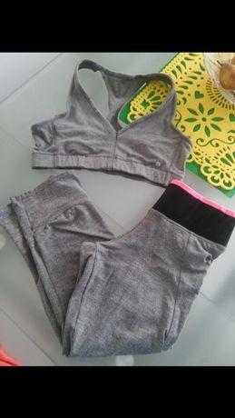 Zestaw decathlon sportowy leggings i crop top xs s