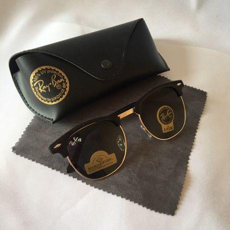 Комплект Солнцезащитные очки Ray Ban Clubmaster стекло + чехол