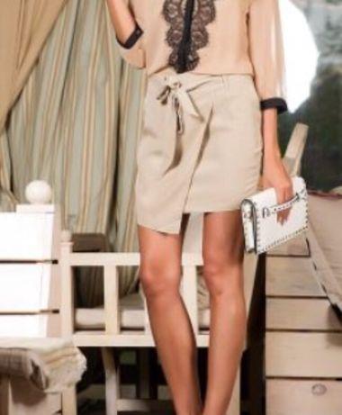 Кожаная юбка бежевая трапеция. Размер -S(26 размер)