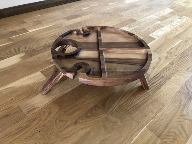 Винний столик, менажниця, посуд з дерева