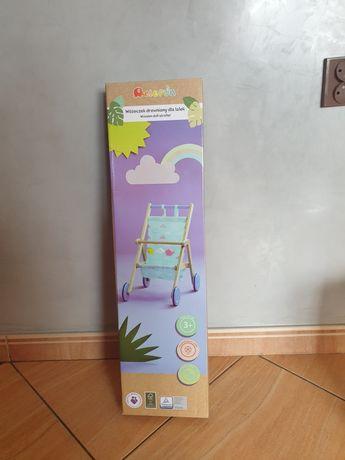 Nowy drewniany wózek dla lalek wozeczek