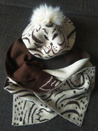 """Стильный комплект берет + шарф """"котик"""", натуральный мех"""