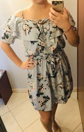 Sukienka hiszpanka falbany pastelowa błękit jak nowa