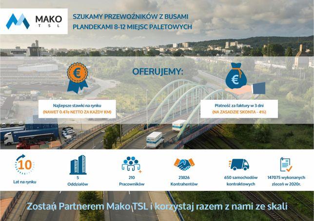 Spedycja BUSY do 3,5t, termin płatności 3 dni, nawet 0,47 €/km