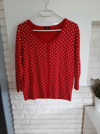 Czerwony sweterek w kropki 40 L dbd F&F