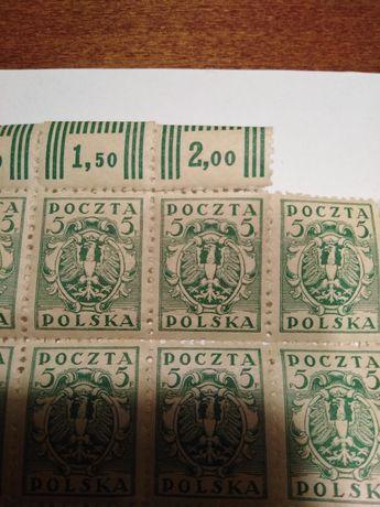 Znaczki Poczta Polska 5F i 3F poczatek XIX wieku