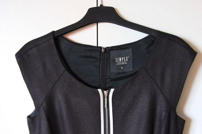 ANNA Mucha SIMPLE czarna sukienka zamek zip 36 S 34 xs